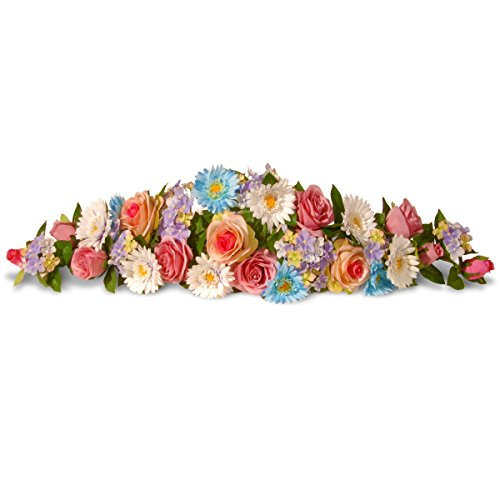 National Tree 33 Inch Floral Swag with Blue and Pink Roses and Gerbera Flowers (RAS-550502BP-1) by National Tree Company