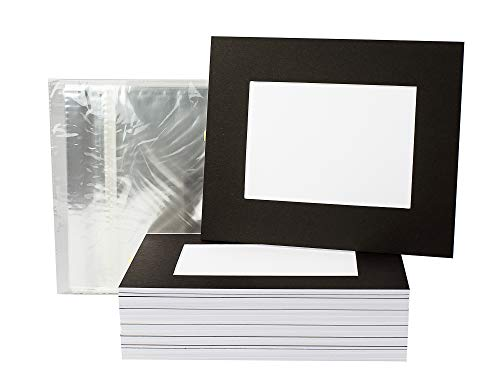 Golden State Art, Pack of 25 Black Slip-in 8x10 Pre-Adhesive Photo Mats for 5x7 Pictures with Backing Board Pre-Assembled, Includes 25 Clear Bags - Great for Graduation, Weddings, and Events