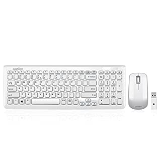 "Perixx PERIDUO-710W, Wireless Keyboard and Mouse Combo Set - 15.32""x5.59""x0.98"" Dimension - Built-in Numeric Keypad - 128 Bit AES Encryption - White (B006UIACYK) 