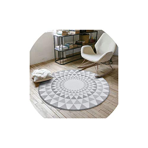 Nordic Gray Series Round Carpets for Living Room Computer Chair Area Rug Children Play Tent Floor Mat Cloakroom Rugs and Carpets,B,120cm Diameter