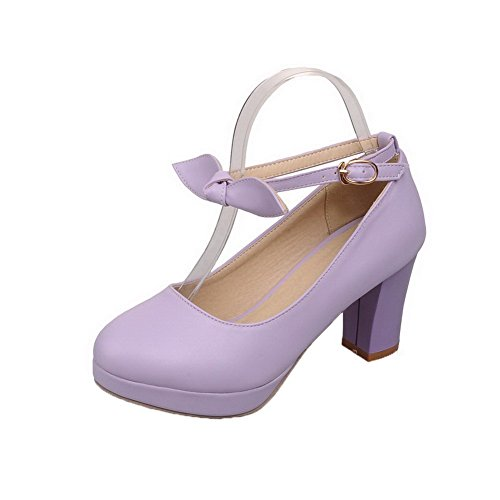 VogueZone009 Women's High-Heels Buckle PU Solid Round-Toe Pumps-Shoes Lightpurple VSGonj0