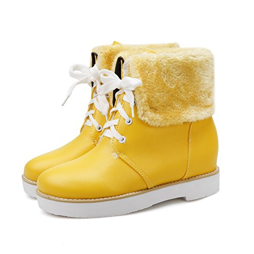 AdeeSu Womens Fringed Lace-Up Snow Boots Slip-Resistant Urethane Boots SXC02412 Yellow 3Vc7X