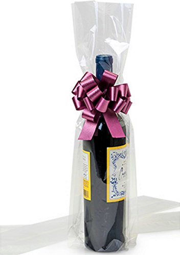 Cellophane Wine Bags - 10 Clear Cello / Cellophane Wine bottle bag - 4