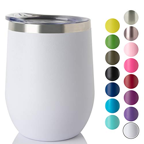 Jearey Stemless Wine Glass Tumbler 12 oz Stainless Steel Double Wall Vacuum Insulated Wine Cup with Lid Travel Friendly (1 Pack, White)