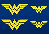 Yellow Wonder Woman emblem stickers. 4 PACK of