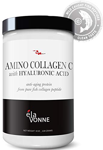 Amino Collagen C with Hyaluronic Acid (30 Servings 8oz_228g) - Pure Fish Collagen Powder - Unflavored, Mixes Clear, No Taste - Skin, Hair, Nails, Joints & Gut Support.