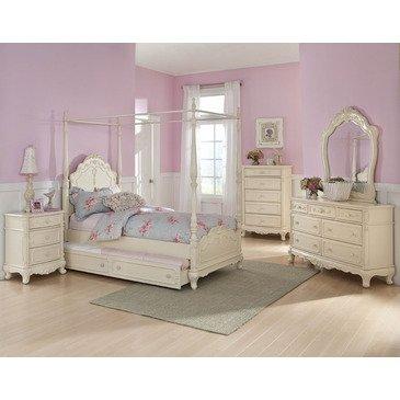 (Homelegance Cinderella 5 Piece Canopy Poster Bedroom Set In Antique White)