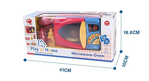 MeeYum Kids Pretend Play Electronic Toy Kitchen Microwave Oven with Realistic Lights and Sound, Includes Pretend Food by MeeYum (Image #4)