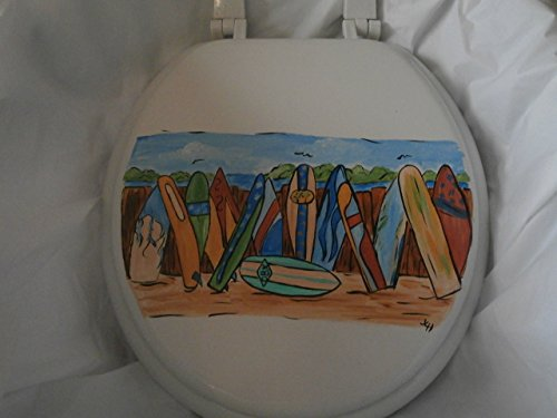 Hand Painted Toilet Seat - Hand painted surfboard standard white toilet seat. usa.