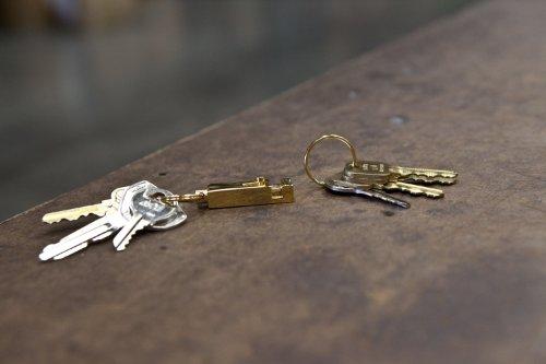 Chrome Finish Rectangular Pull Apart Key Chain Accessory with 2 Split Rings Key-BAK #1101 Quick Release Side Slide 5-Pack