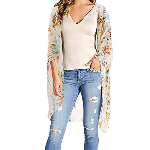 (Big Sale Yetou Womens Half Sleeve Fashion Chiffon Print Sandy Beach Cardigan Smock Easy Blouse Tops Orange)