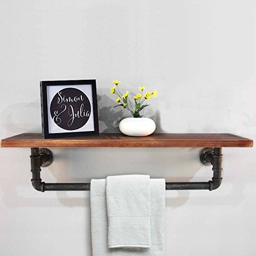Diwhy Industrial Pipe Shelf Shelving Pine Wood and Pipe Towel Rack - Multiple shelves (Additional Industrial Shelf)