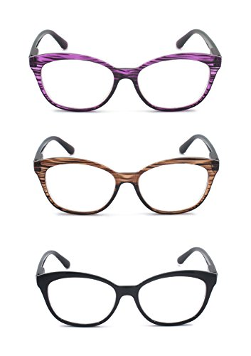 EYE-ZOOM 3 Pairs Classic Style Reading Glasses with Spring Hinge Comfort Fit for Men and Women Choose Your Magnification, Black, Brown Tortoise and Purple Tortoise, +1.50 - Purple Tortoise