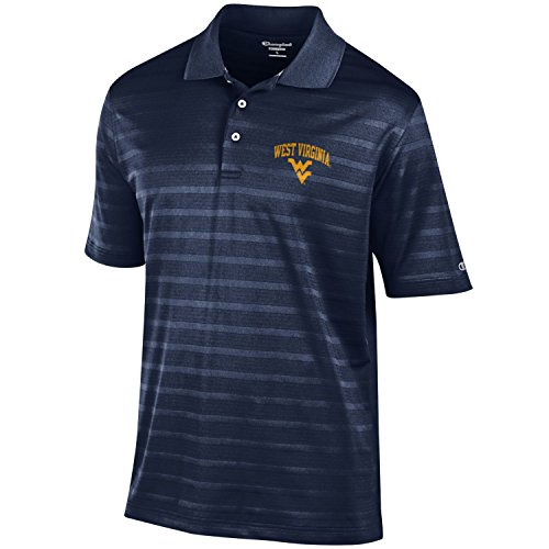 (NCAA Champion Men's Textured Solid Polo, West Virginia Mountaineers, X-Large)