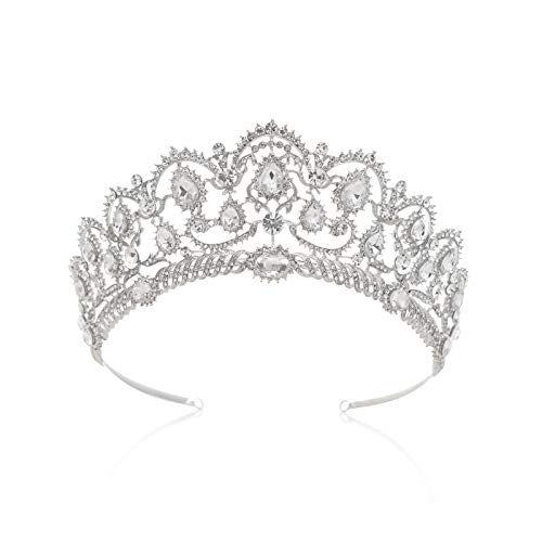 SWEETV Crystal Silver Crown for Women - Rhinestone Queen Tiara for Wedding, Birthday, Prom, Pageant, Quinceanera, Costume Hair Accessories -