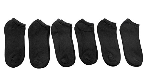 6 Pairs of excell Mens Black Cotton Blend Sports Ankle Socks