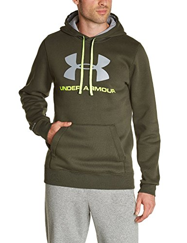 Under Armour Cotton Charged Storm Sportstyle Hoodie - Adult - Rifle Green/High Vis Yellow - Large