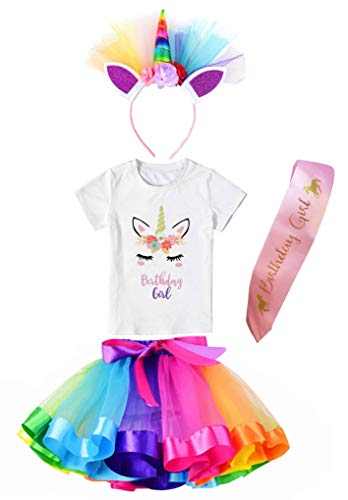 Girls Layered Tutu Skirt with Unicorn Tshirt, Headband & Satin Sash (Rainbow, 4-5 Years) -
