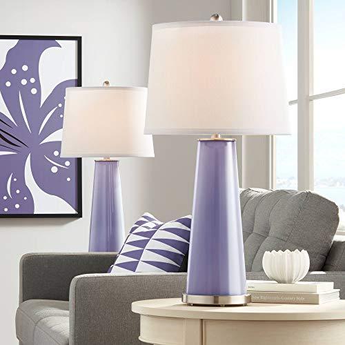Leo Modern Table Lamps Set of 2 Purple Haze Glass Tapered Column Plain White Drum Shade for Living Room Family Bedroom - Color + ()