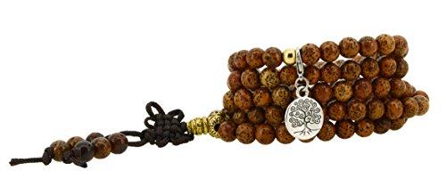 Unisex Yoga Meditation 108 Tibetan Bodhi Brass Prayer Beads Daemonorops Seeds Mala Wrap Bracelet Necklace (Round Tree of Life)