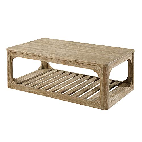 "Wellington 48"" Coffee Table in Candle Glow with Solid Top And A Slat Bottom Shelf, by Artum Hill"