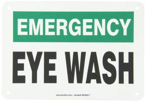 Osha Emergency Wash Eye (Accuform Signs MFSD917VP Plastic Safety Sign, Legend EMERGENCY EYE WASH, 7