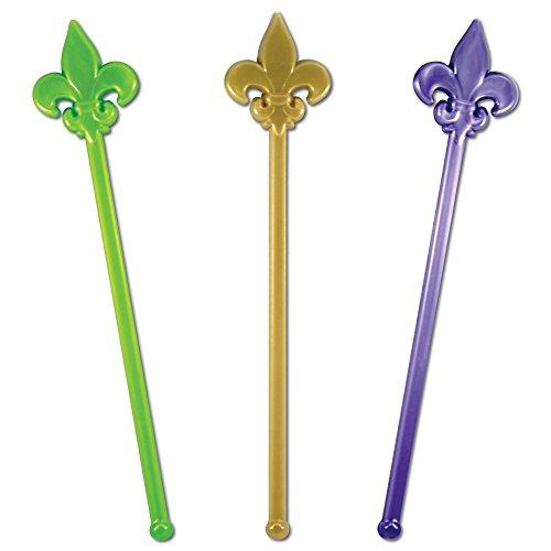 Royer Plastic Fleur de Lis, Mardi Gras Party Swizzle Stick, Stir Sticks, Drink Stirrers, Assortment - Green, Purple, Gold, 6 Inch, Set of 24, Made in USA