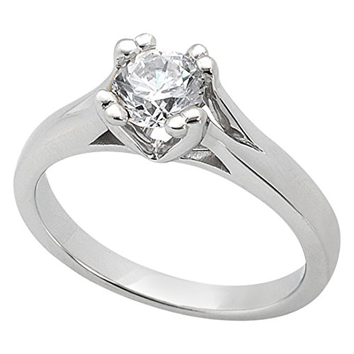 - Double Prong Trellis Engagement Ring Setting in Platinum