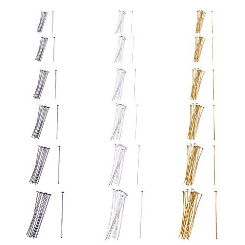 PandaHall Elite 1740 Pcs 6 Size 3 Color Iron Headpins Jewelry Making Findings(40mm, 35mm, 28mm, 22mm, 20mm, 16mm)
