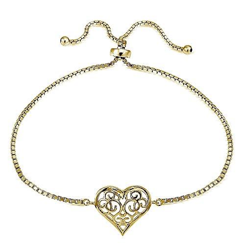 Yellow Gold Flashed Sterling Silver Filigree Heart Polished Adjustable Barcelet