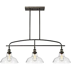 CLAXY Ecopower kitchen Linear island Pendant Lighting Vintage Lamp Chandelier -3 Lights