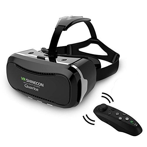 Quarice 3D VR Virtual Reality Brille Headset für 4,5-6,0 Zoll Android Samsung usw. Smartphones mit Fernbedienung Schwarz