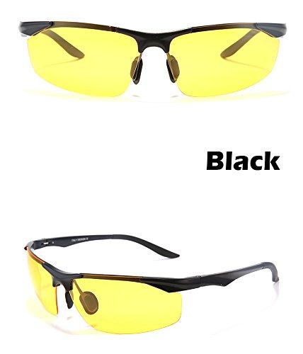 de antirreflejos Los para sesgada gafas polarizadas gafas y automovilistas TIANLIANG04 Gold la Black polarizador nocturna magnesio gafas conducción hombres visión aluminio 0ZdqSg