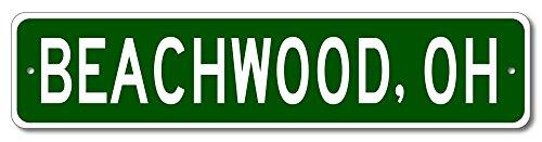 "The Lizton Sign Shop Beachwood, Ohio U.S.A. Custom America Aluminum Metal City and State Name Sign - Green - 4""x18"""