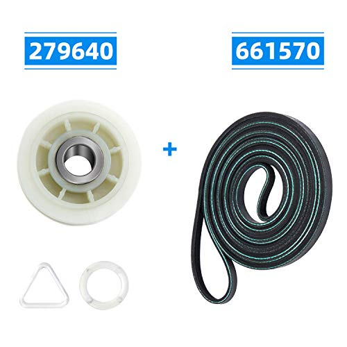 (279640 Idler Pulley & 661570 Drum Belt Dryer Replacement Part Set - Compatible with Whirlpool Kenmore Dryer - Pulley for 3388672/697692/AP3094197/W10468057, Belt for 3387610/3389728/661570VP)