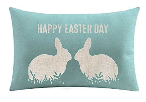 - Bnitoam Happy Easter Oil Painting Smile Bunny Color Egg and Butterflies Cotton Linen Square Decorative Throw Pillow Case Cushion Cover 12 X 20 inchs (34)