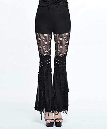 Bell Sexy Gothique D¨¦contract¨¦s bas Noir 7 Devil Long Pantalon Pantalons Femmes Couture Tailles Fashion Punk Creux IXxpvqw