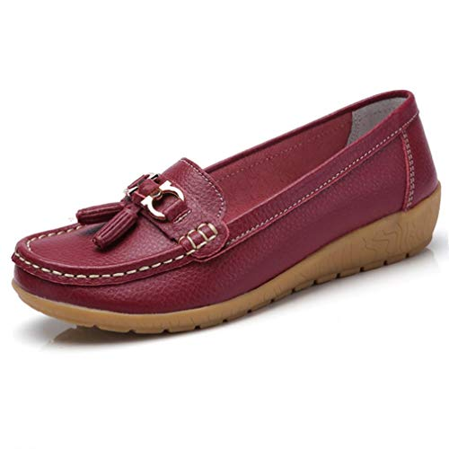 (Women Loafers Leather Oxford Slip On Walking Flats Anti-Skid Boat Shoes (8.5 B (M) US, V-Wine Red))