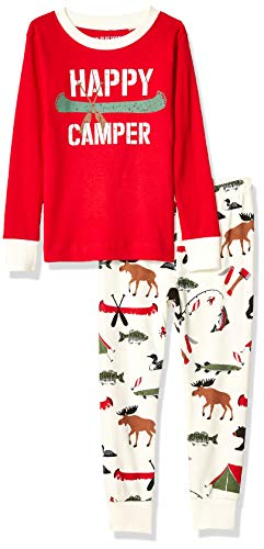 Little Blue House by Hatley Boys' Big Long Sleeve Appliqué Pajama Set, Happy Camper, 10 Years (Applique Kids Pajama)