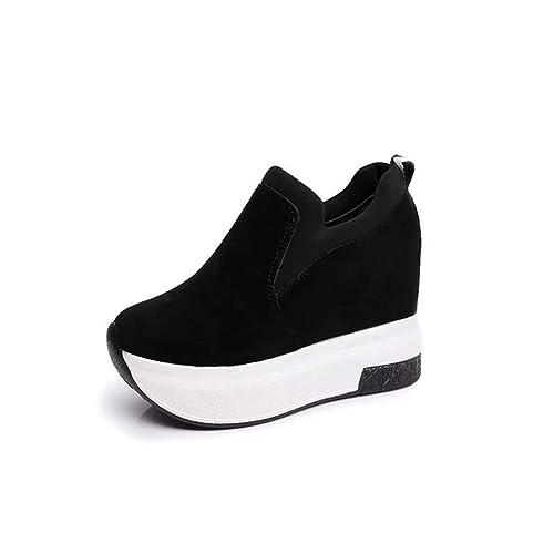 Cuñas de Las Mujeres Zapatos de Gamuza imitación Barco Zapatos de tacón Redondo en el Interior Aumentar Mocasines Zapatos Casuales: Amazon.es: Zapatos y ...