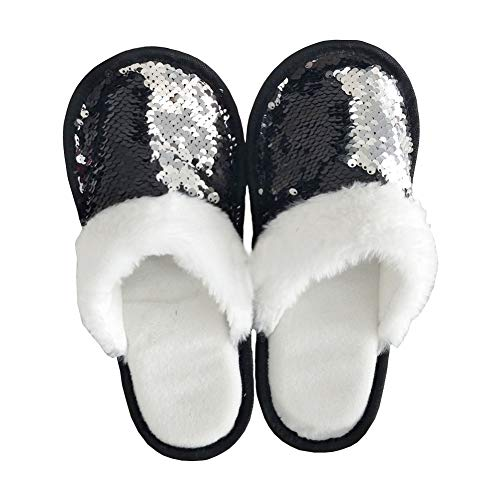 FanRich Woman Fashion Two Color Reversible Sequin Slipper, Girls' House Shoes,Princess Sparkly Slipper -