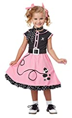 Bring back the golden days of the 50's with this poodle skirt bobby sox outfit. This Sock Hop costume includes a dress, pettiskirt, scarf, belt, and an individual letter iron-on monogram for customization most names. Shoes, socks, and hair ri...
