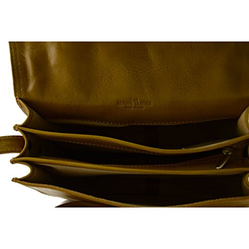 Woman Woman Shoulder Bag In Compartments 3 Italy Made Color Leather Bag With Honey Tuscan Genuine Leather wE6XppqZ
