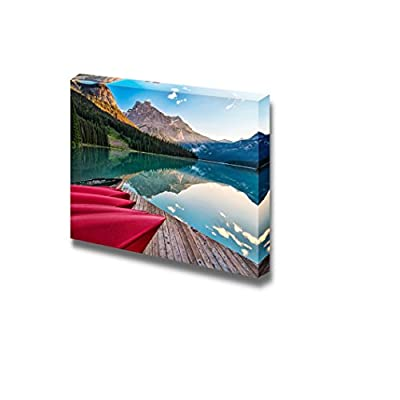 Canvas Prints Wall Art -The Sun Lights The Distant Mountain at Emerald Lake from The Canoe Rental Dock| Modern Home Deoration/Wall Art Giclee Printing Wrapped Canvas Art Ready to Hang - 12
