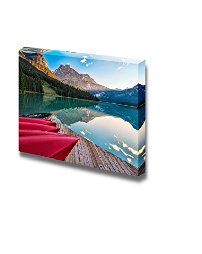 The Sun Lights The Distant Mountain at Emerald Lake from The Canoe Rental Dock Home Deoration Wall Decor ing