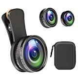 Phone Camera Lens,ARORY Pro Photography Lens Kit for iPhone, Samsung, Pixel,235°Fisheye Lens & 15X Macro+0.4X Wide Angle & 12x Macro with EVA Travel Case