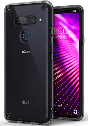 Ringke [Fusion] Compatible with V40 Case, Clear Upgraded Transparent PC Back TPU Bumper [Drop Defense] Raised Bezels Scratch Protection Natural Form Cover for LG V40 ThinQ (2018) - Smoke Black
