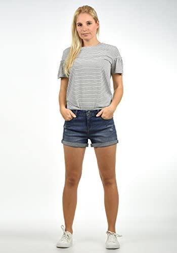 BlendShe Andreja Pantaloncini di Jeans Denim Shorts da Donna Elasticizzato Skinny