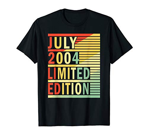 15th Birthday Gift July 2004 Shirts 15 Years Old Men Women