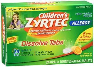 Zyrtec Children's Allergy Orally Disintegrating - 24 Tablets, Pack of 5
